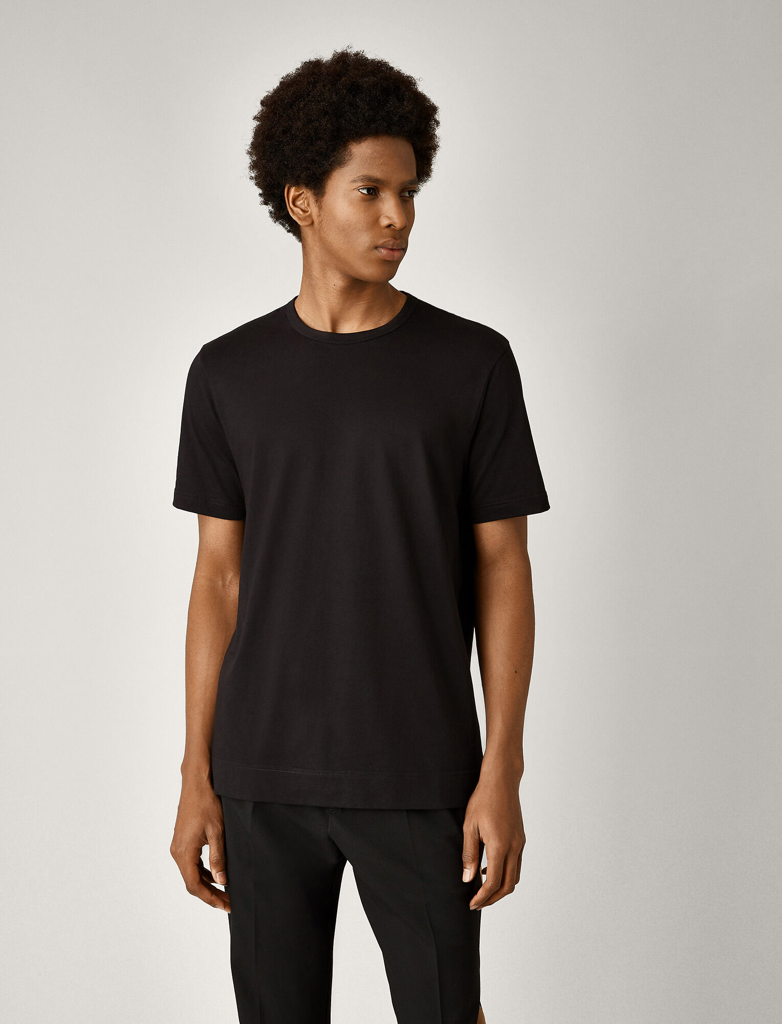 Joseph, Mercerized Jersey Tee, in BLACK