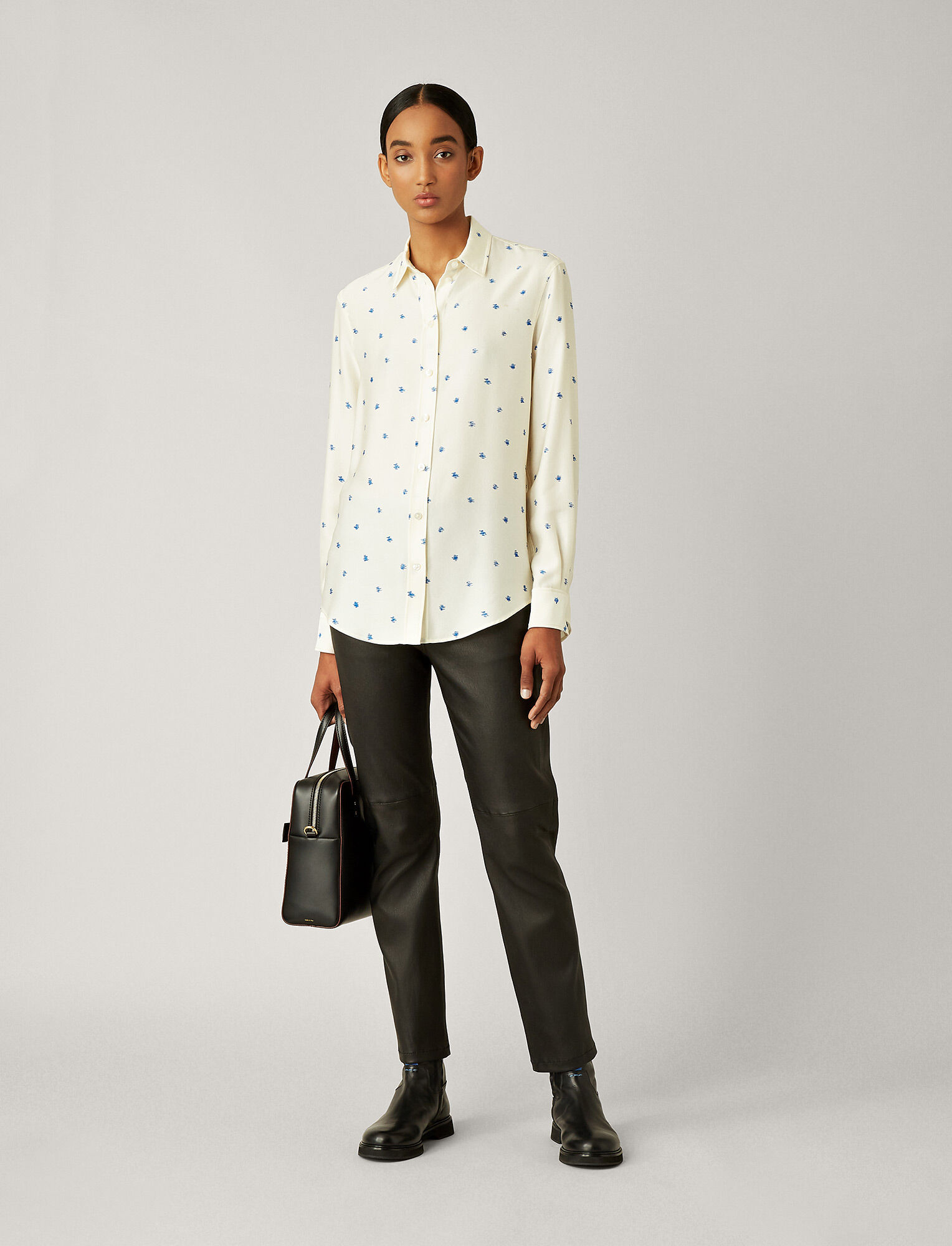 Joseph, New Garçon Scribble Spot Blouse, in WHITE