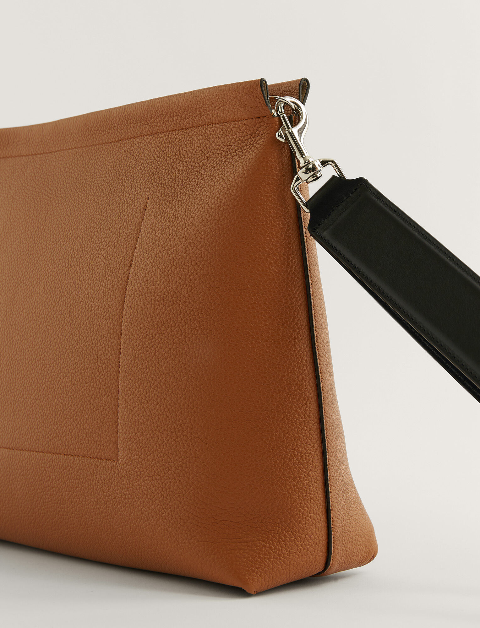 Joseph, Grain Leather Clutch Bag, in Cognac