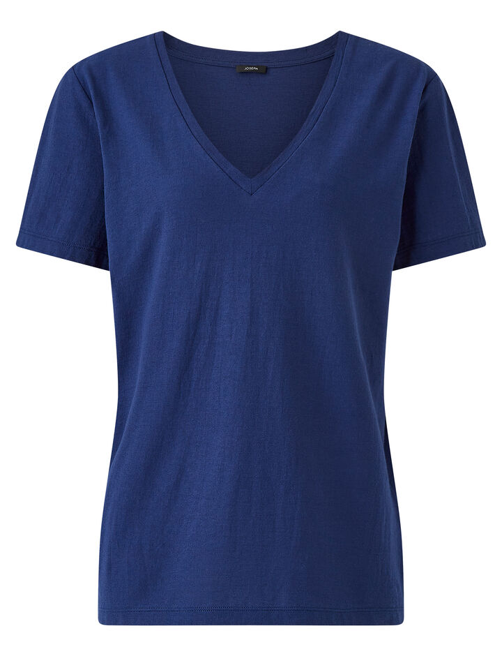 Joseph, Light Cotton V Neck Jersey Top, in COBALT BLUE