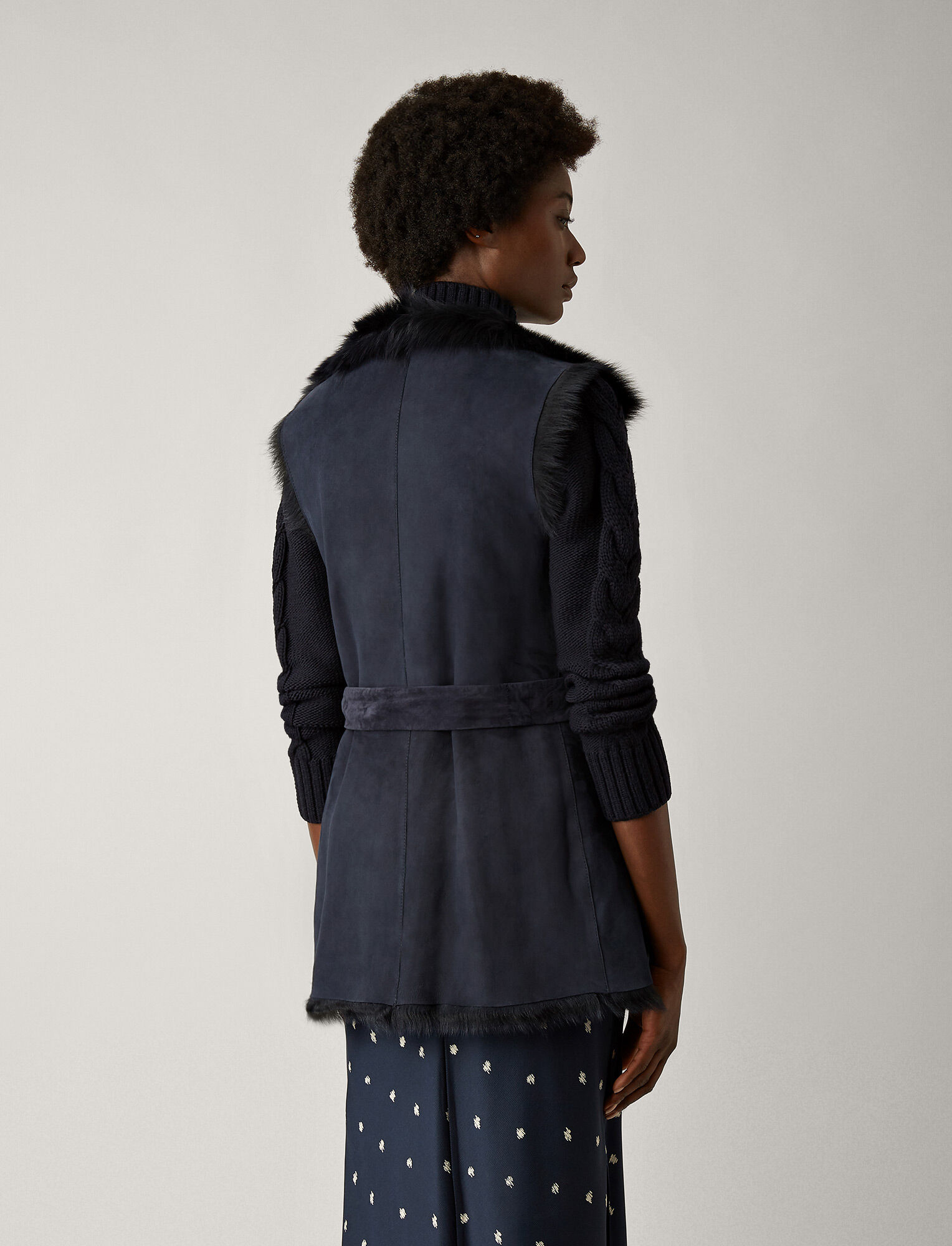 Joseph, Long Hair Toscana Lima Gilet, in NAVY