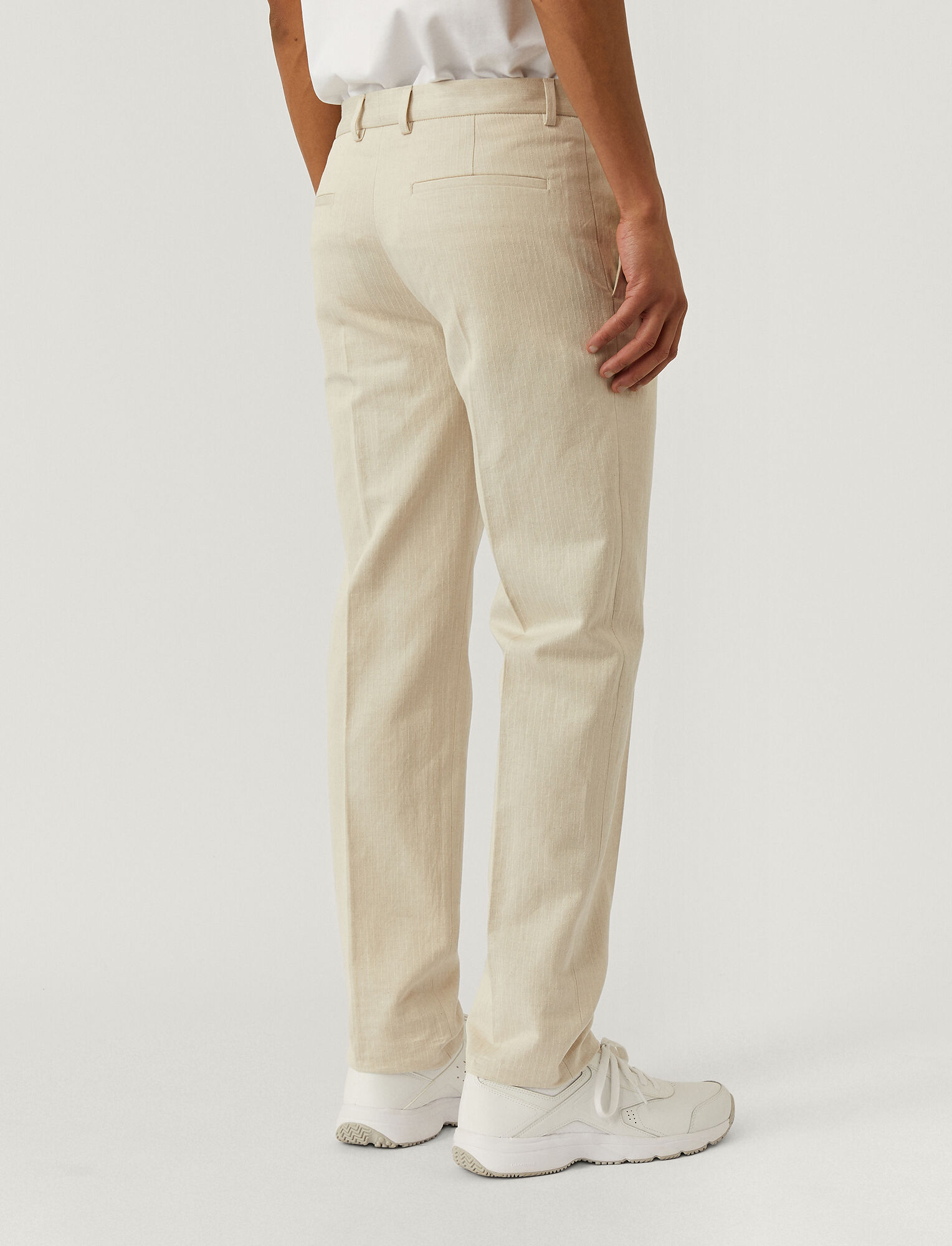 Joseph, Pantalon Jack en dobby de coton et de lin, in ECRU