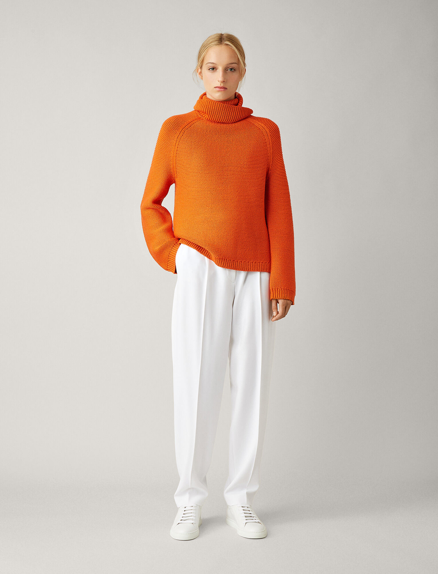 Joseph, Roll Neck Sweat Chunky Cable Mix Knit, in CARROT