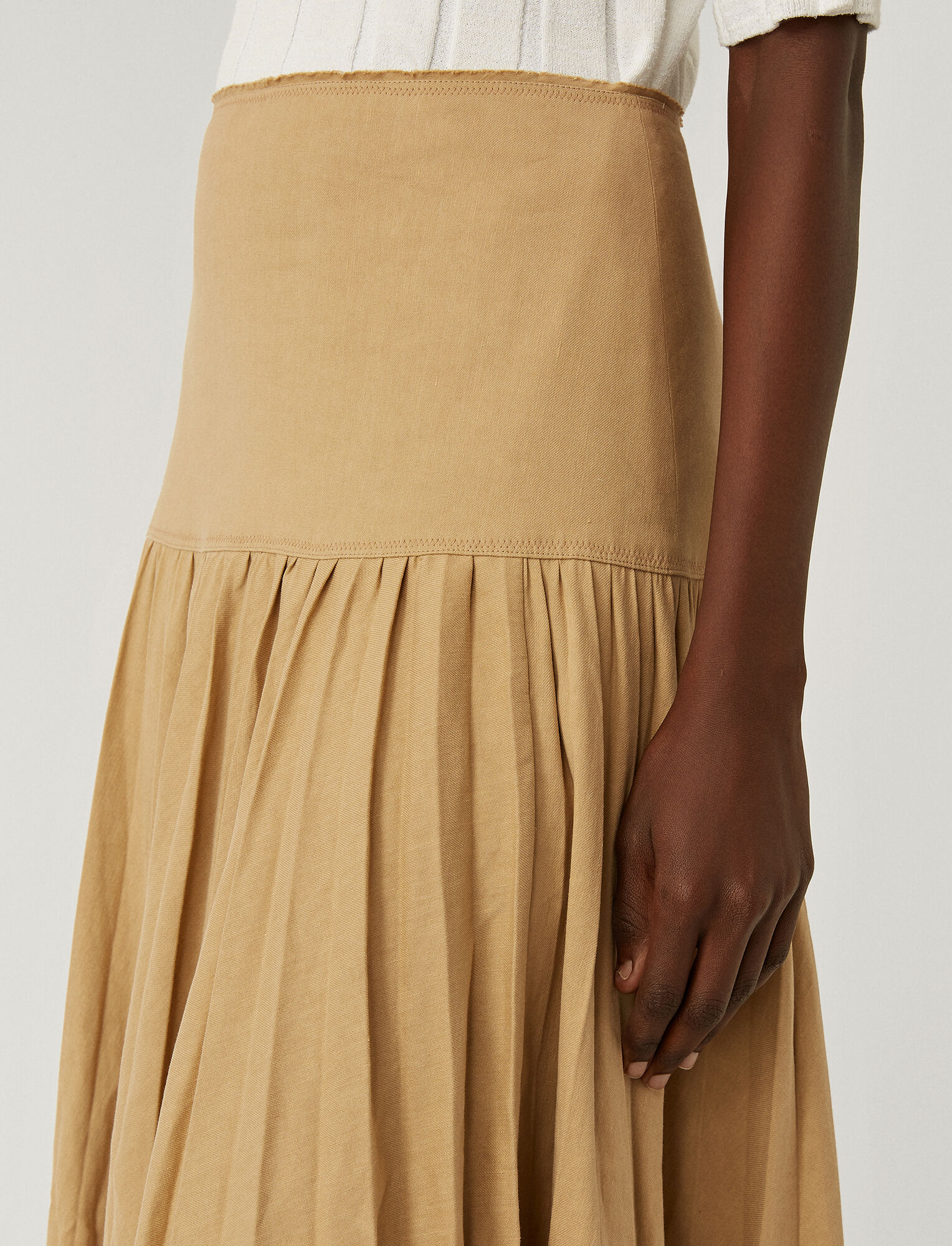 Joseph, Stretch Linen Cotton Sven Skirt, in TOFFEE
