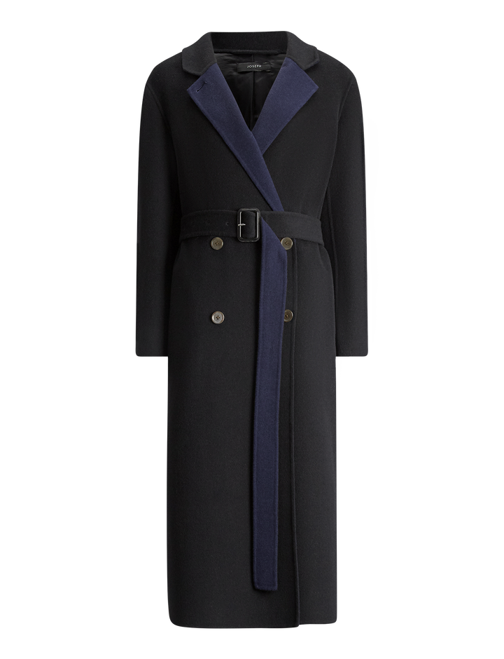 Joseph, Gombe Brushed Double Coat, in BLACK