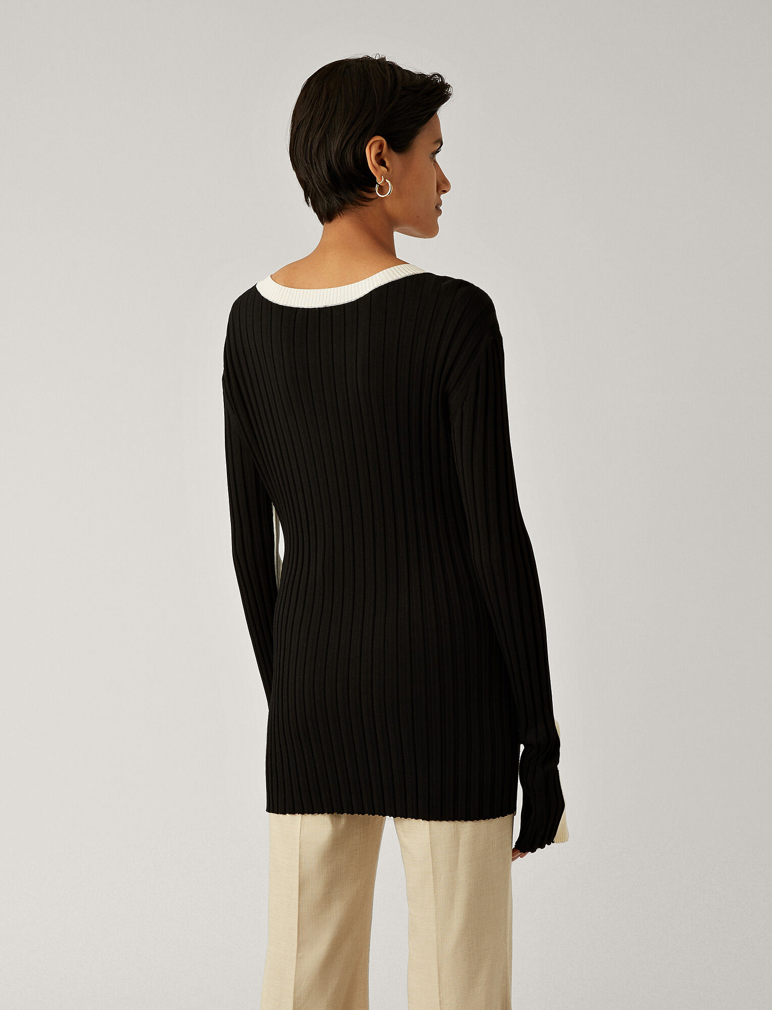 Joseph, Mix Rib Knit, in BLACK COMBO