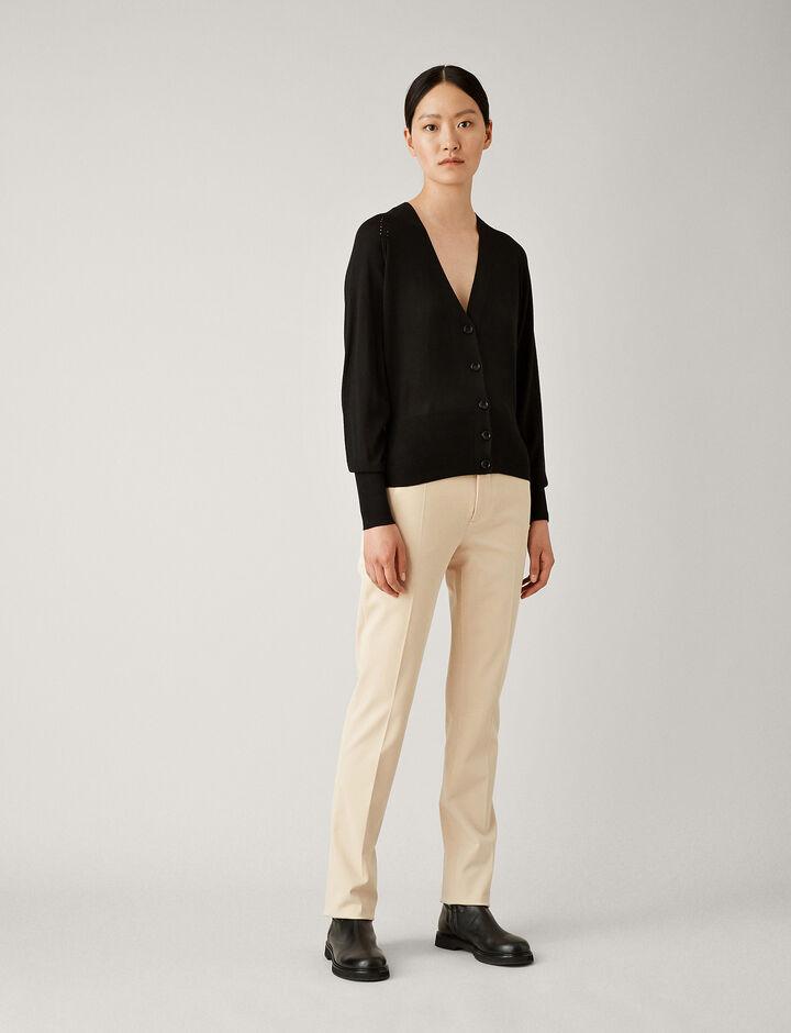 Joseph, Silk Merinos Knit Cardigan, in BLACK