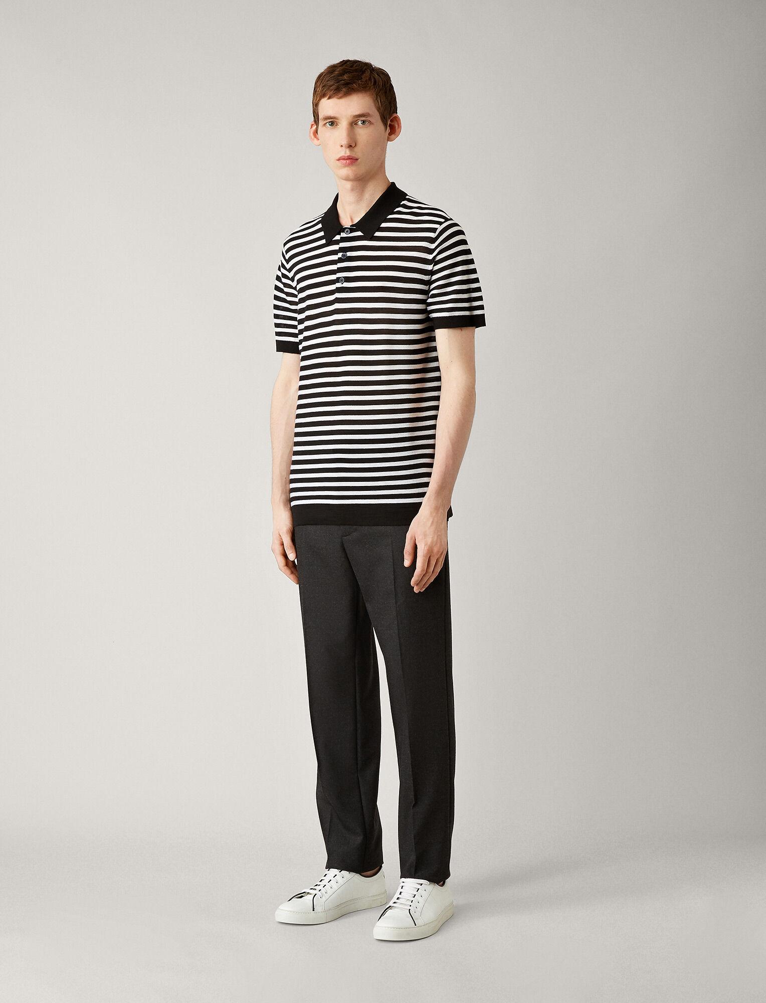 Joseph, Polo Light Stripe Merinos Knit, in BLACK