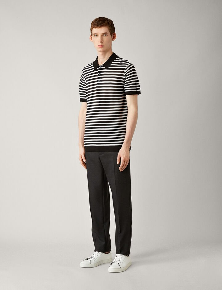 Joseph, Polo-Light Stripe Merinos, in BLACK