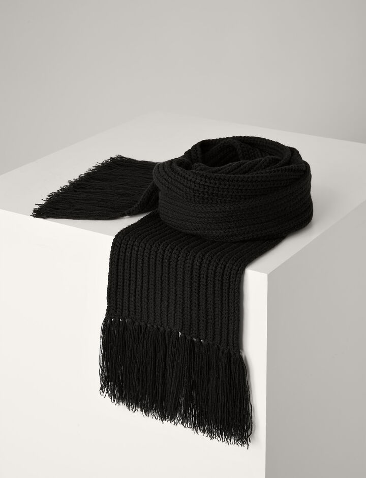 Joseph, Soft Wool Scarf, in BLACK