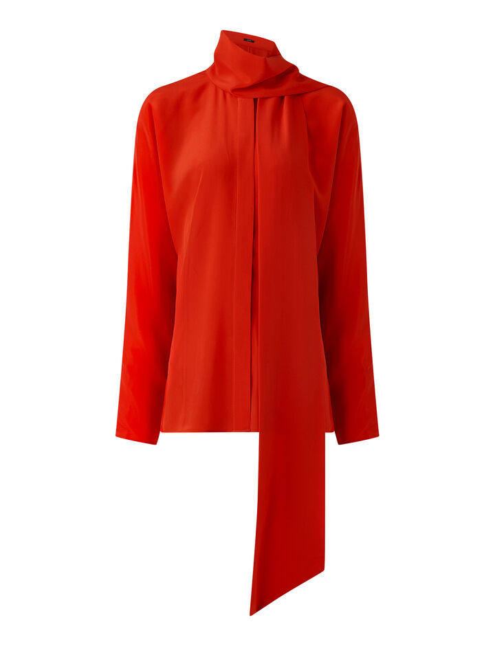 Joseph, Briti Crepe De Chine Blouse, in FLAME