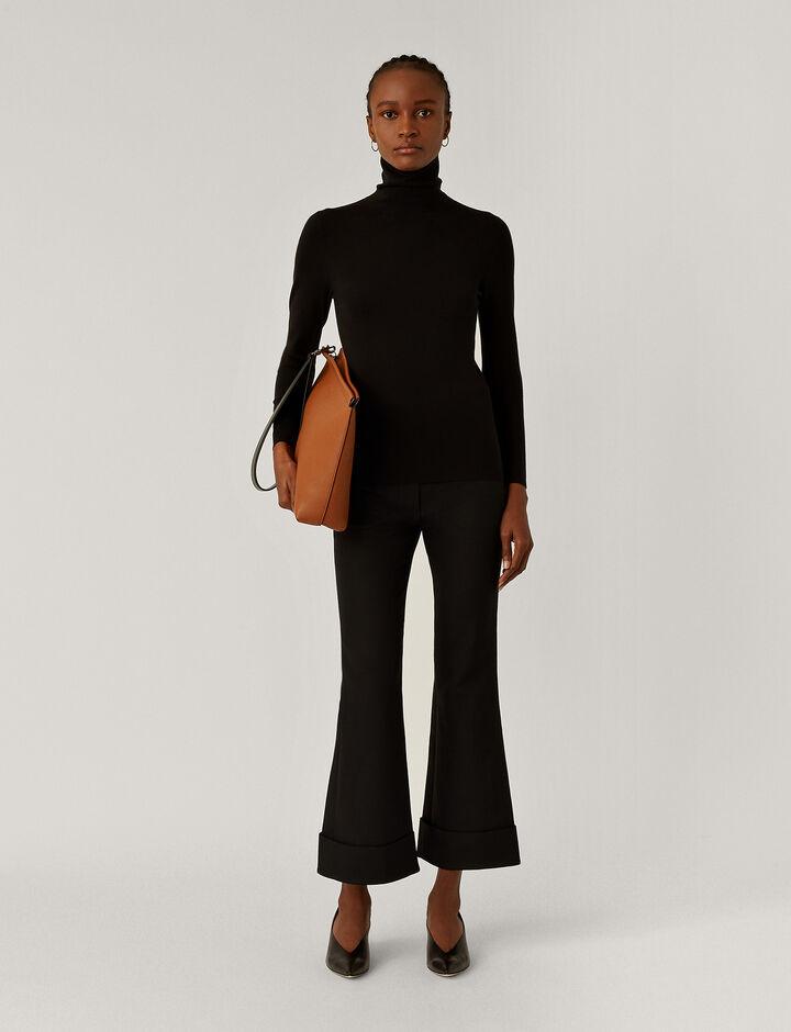Joseph, Turtle Nk Ls Silk Stretch Knitwear, in Black
