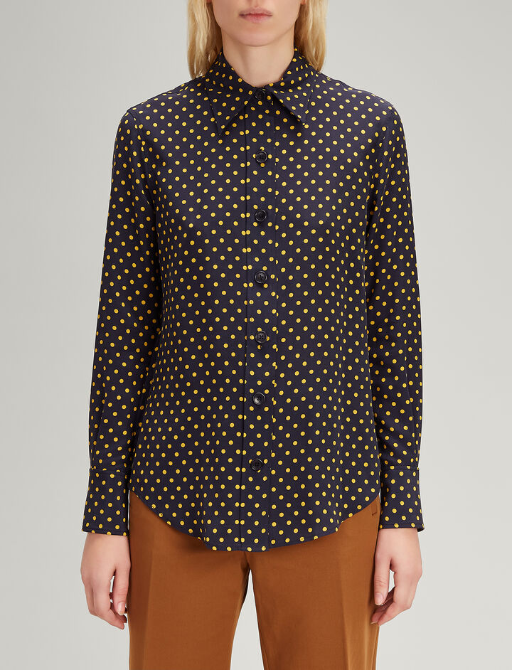 Joseph, Spot Silk Toile New Garcon Shirt, in NAVY