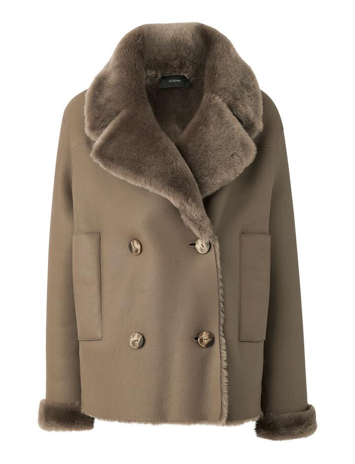 Joseph, Polar Skin Calla Coat, in TAUPE