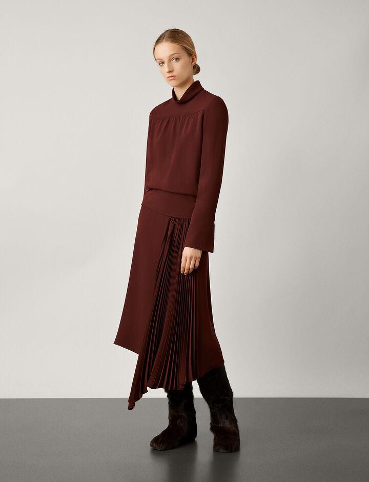 Joseph, Selma Silk Crepe Skirt, in MAROON