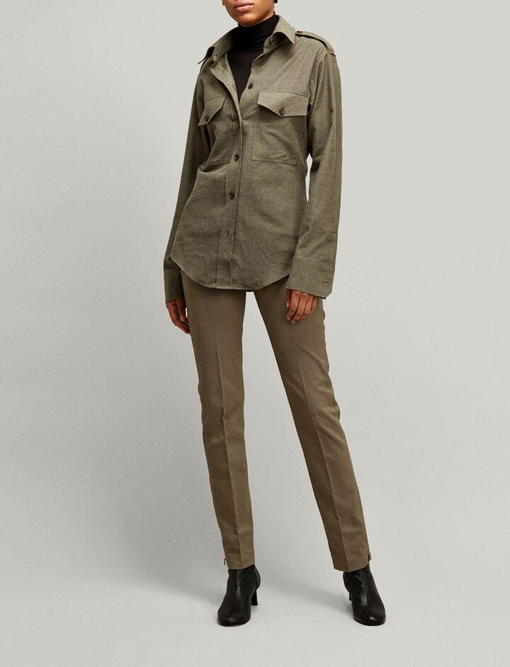 Joseph, Reeve Dogtooth Stretch Trousers, in MILITARY