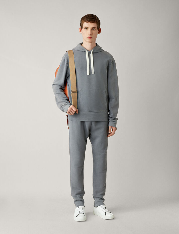 Joseph, Hoody-Garment Dye Molleton, in STEEL