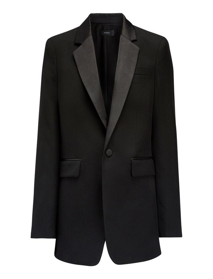 Joseph, Grain de Poudre Jan Tuxedo Jacket, in BLACK