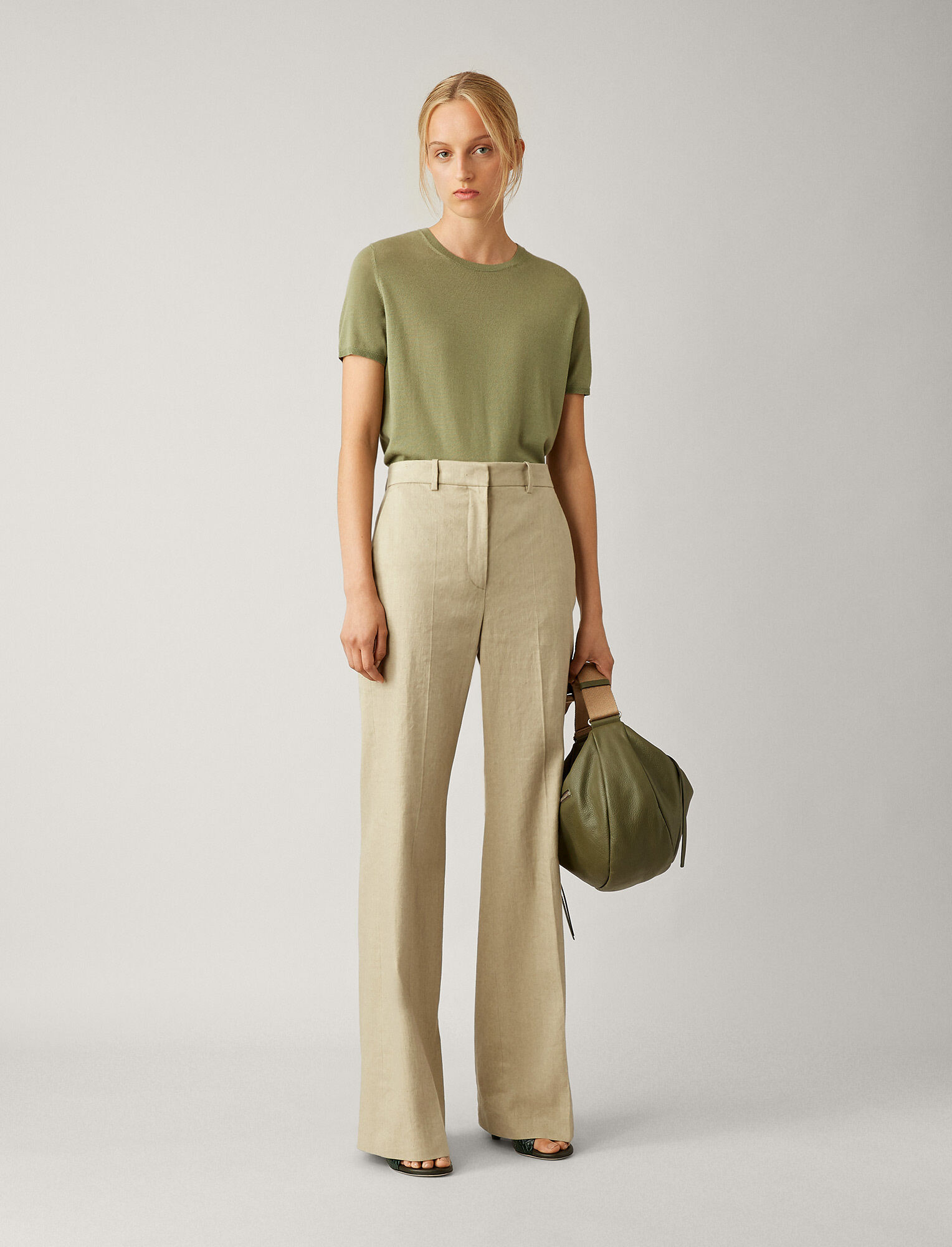 Joseph, Pantalon Morissey en lin stretch, in SAND