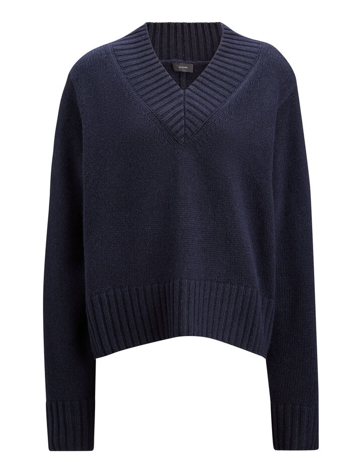 Joseph, V Neck Cashmere Luxe Knit, in NAVY