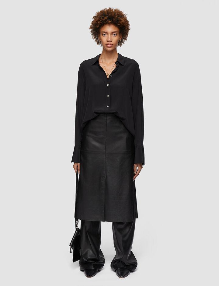Joseph, Nappa Leather Sidena Skirt, in BLACK