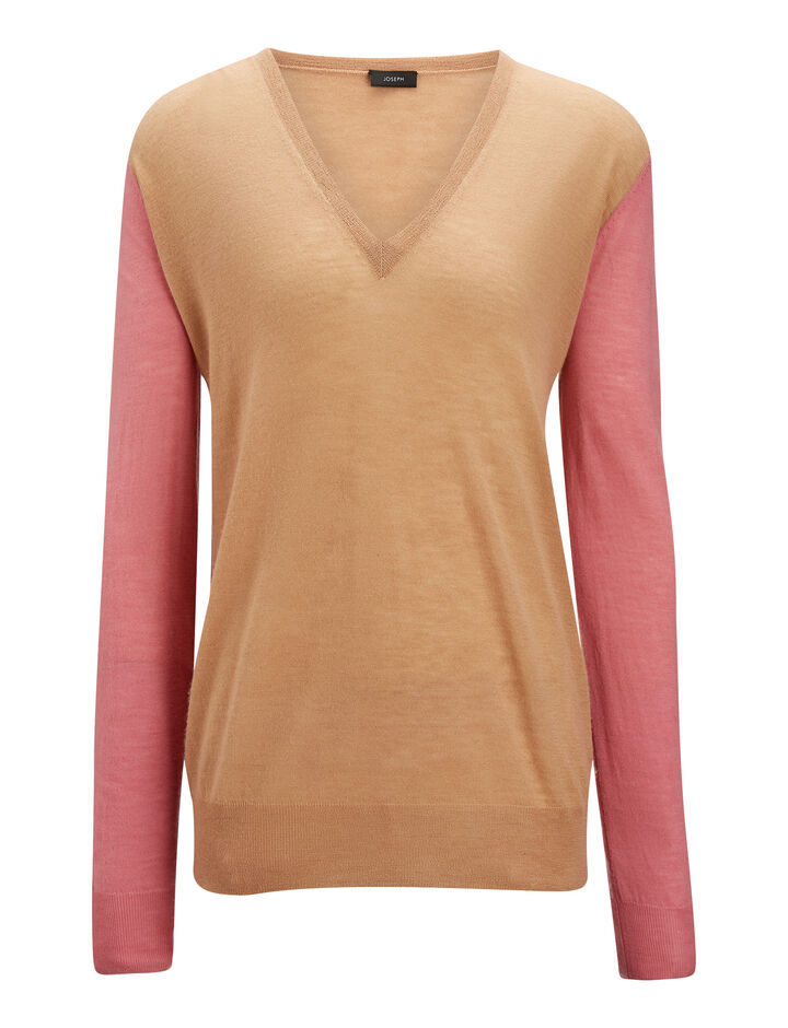 Joseph, V Neck Cashair Patch Knit, in CAMEL