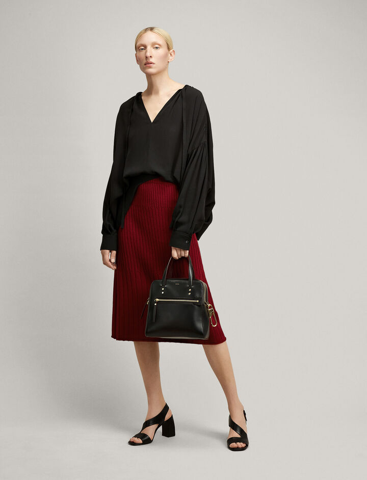 Joseph, Wrap Skirt Wool Viscose Rib Knit Skirt, in CLARET