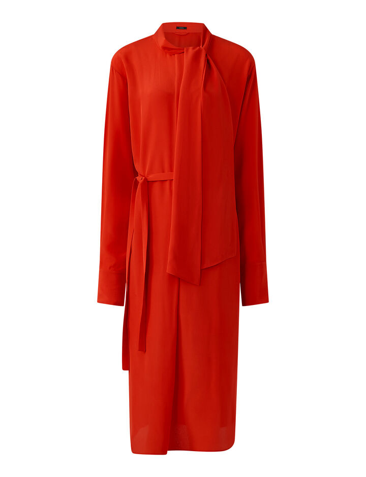 Joseph, Doriane Crepe De Chine Dress, in FLAME