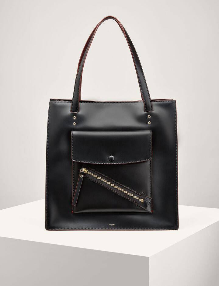 Joseph, Leather Portobello Bag, in BLACK