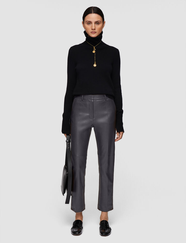 Joseph, Leather Stretch Coleman Trousers, in NICKEL