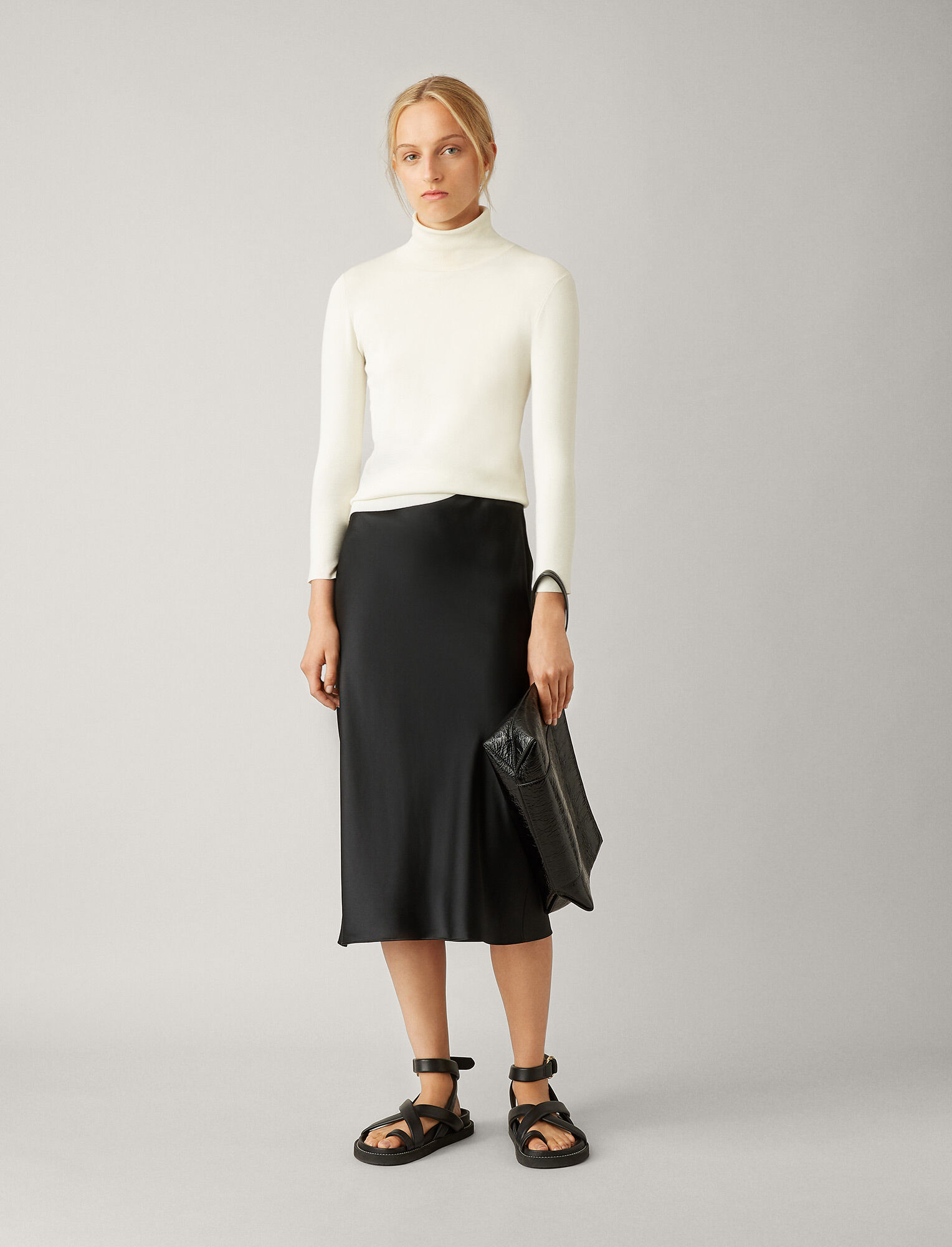 Joseph, Turtle Neck Silk Stretch Knit, in IVORY