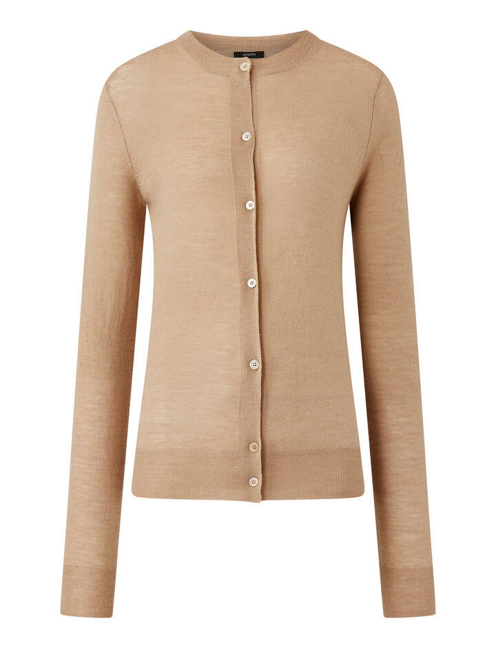 Joseph, Rd Nk Cardi-Cashair, in LIGHT CAMEL