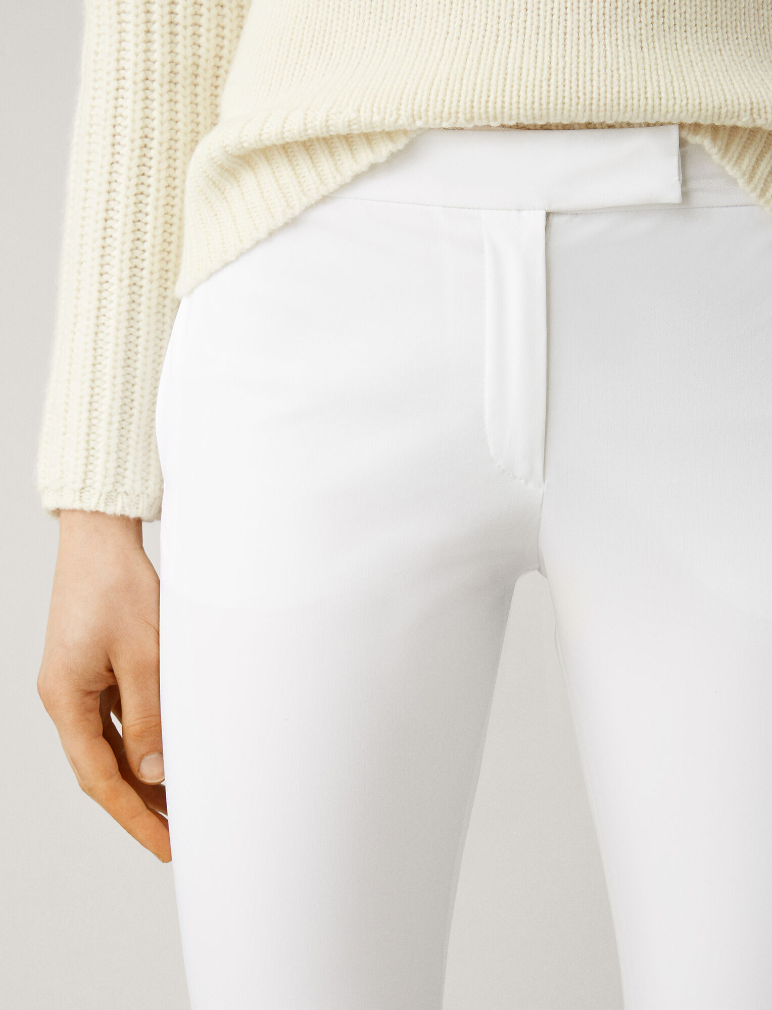 Joseph, Finley Polish Cotton Trousers, in WHITE