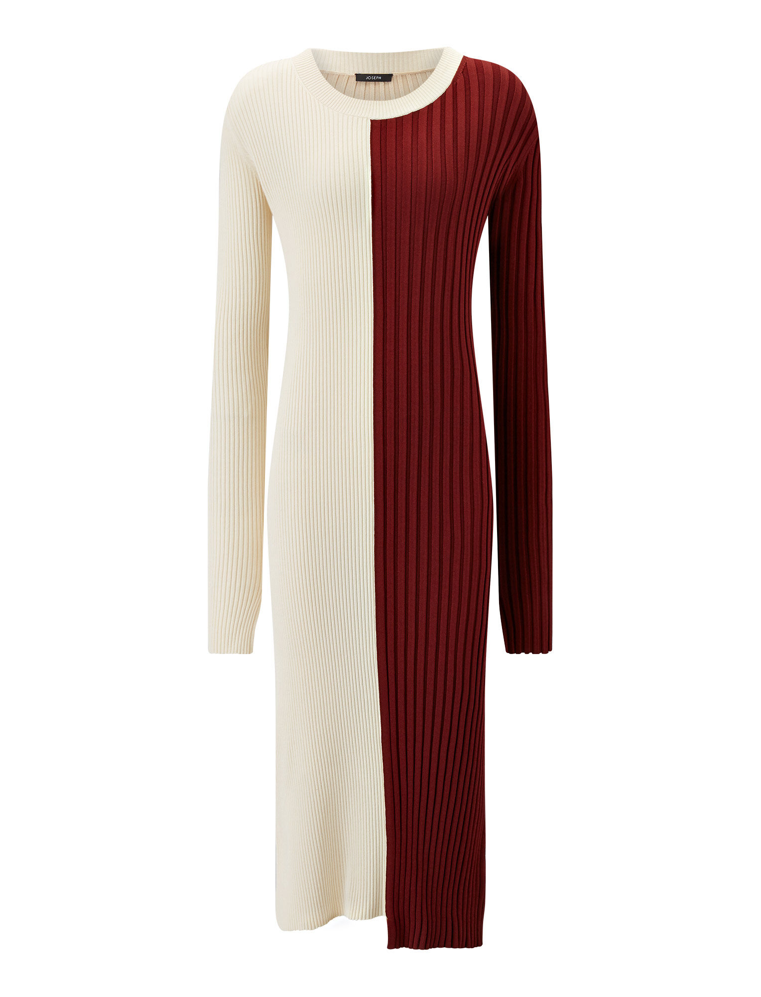 Joseph, Diane Mix Rib Dress, in MERLOT COMBO