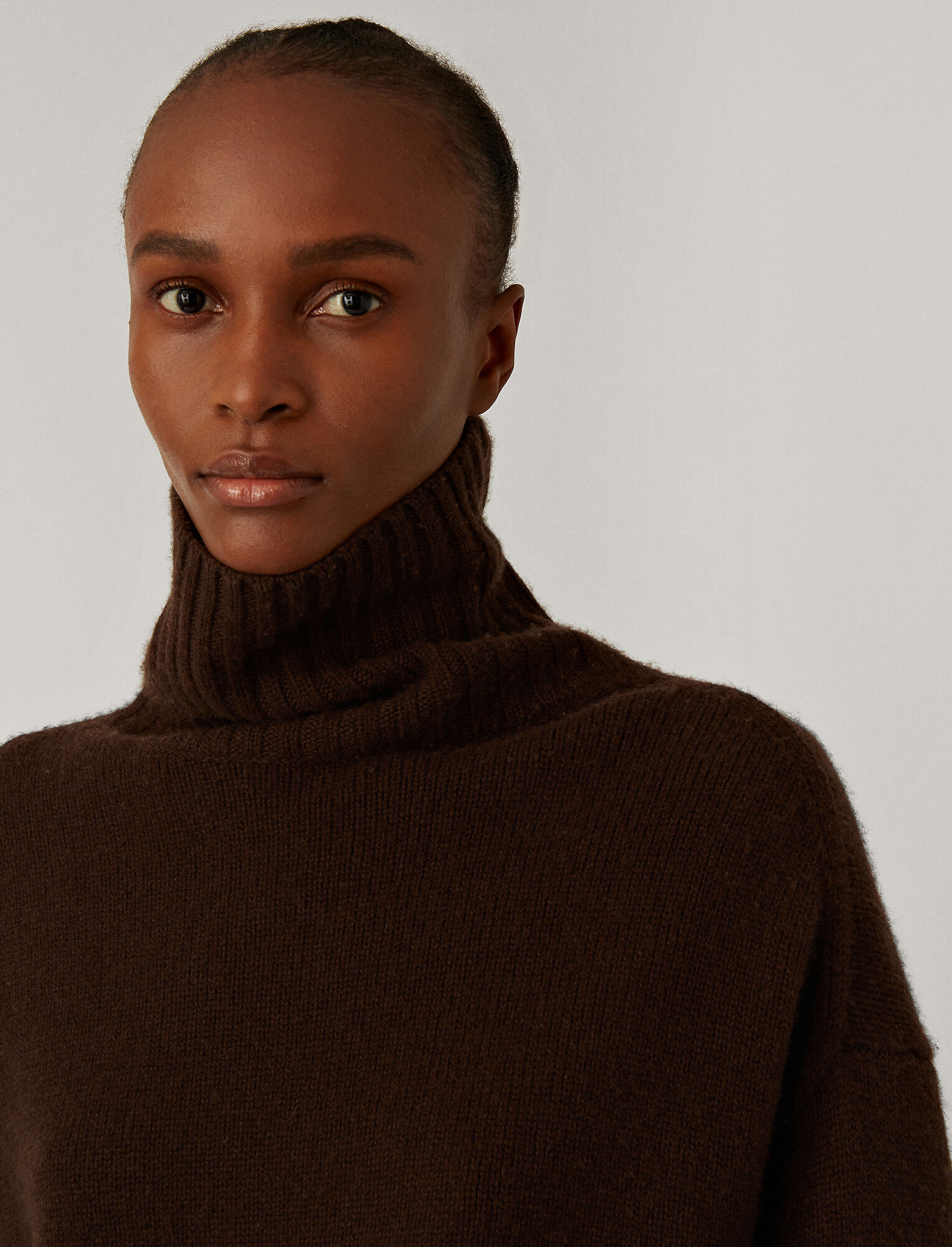 Joseph, High Neck Luxe Cashmere Knit, in Chocolate
