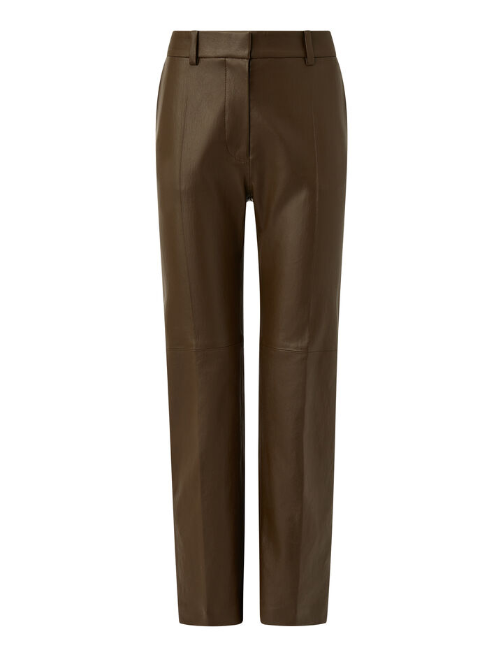 Joseph, Leather Stretch Coleman Trousers, in PINECONE