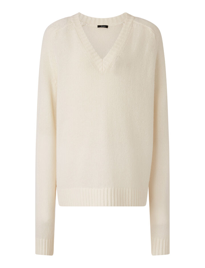 Joseph, V Nk Ls-Open Cashmere, in IVORY