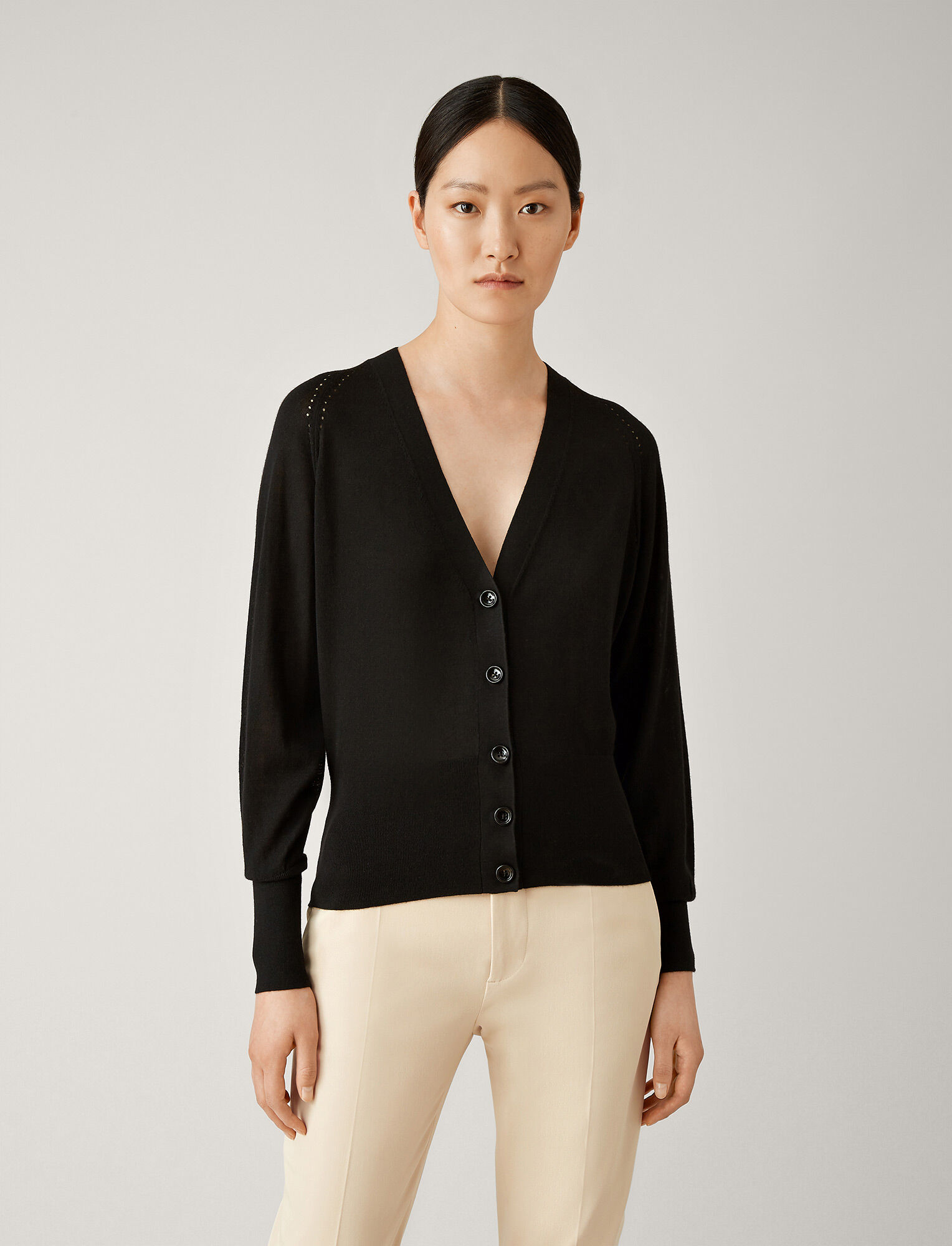 Joseph, Silk Merinos Knit Cardigan, in BLACK
