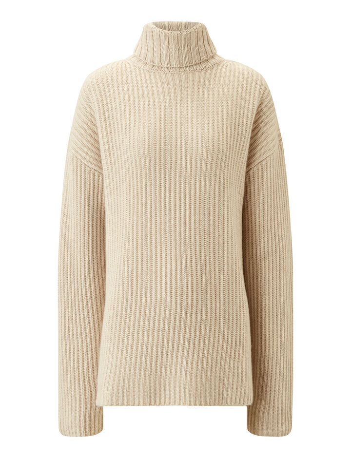 Joseph, High Nk-Cashmere Luxe, in MASTIC