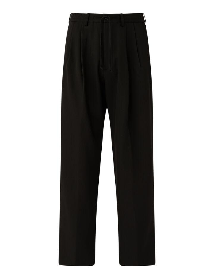 Joseph, Worsted Wool Gabardine Wave Trousers, in BLACK