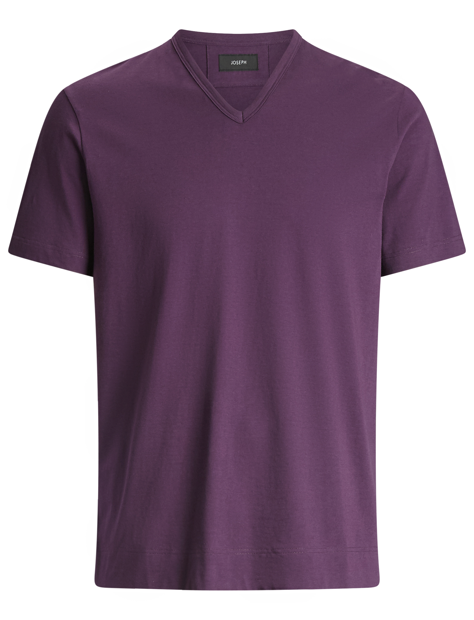 Joseph, V Neck Mercerised Jersey Tee, in AUBERGINE