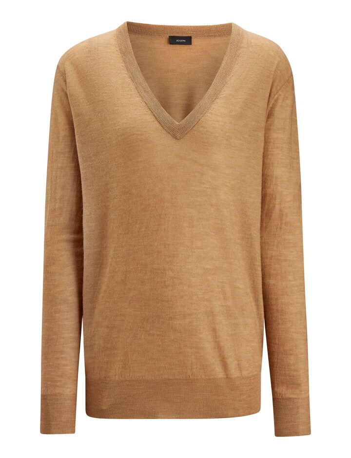 Joseph, V Neck Cashair Knit, in CAMEL