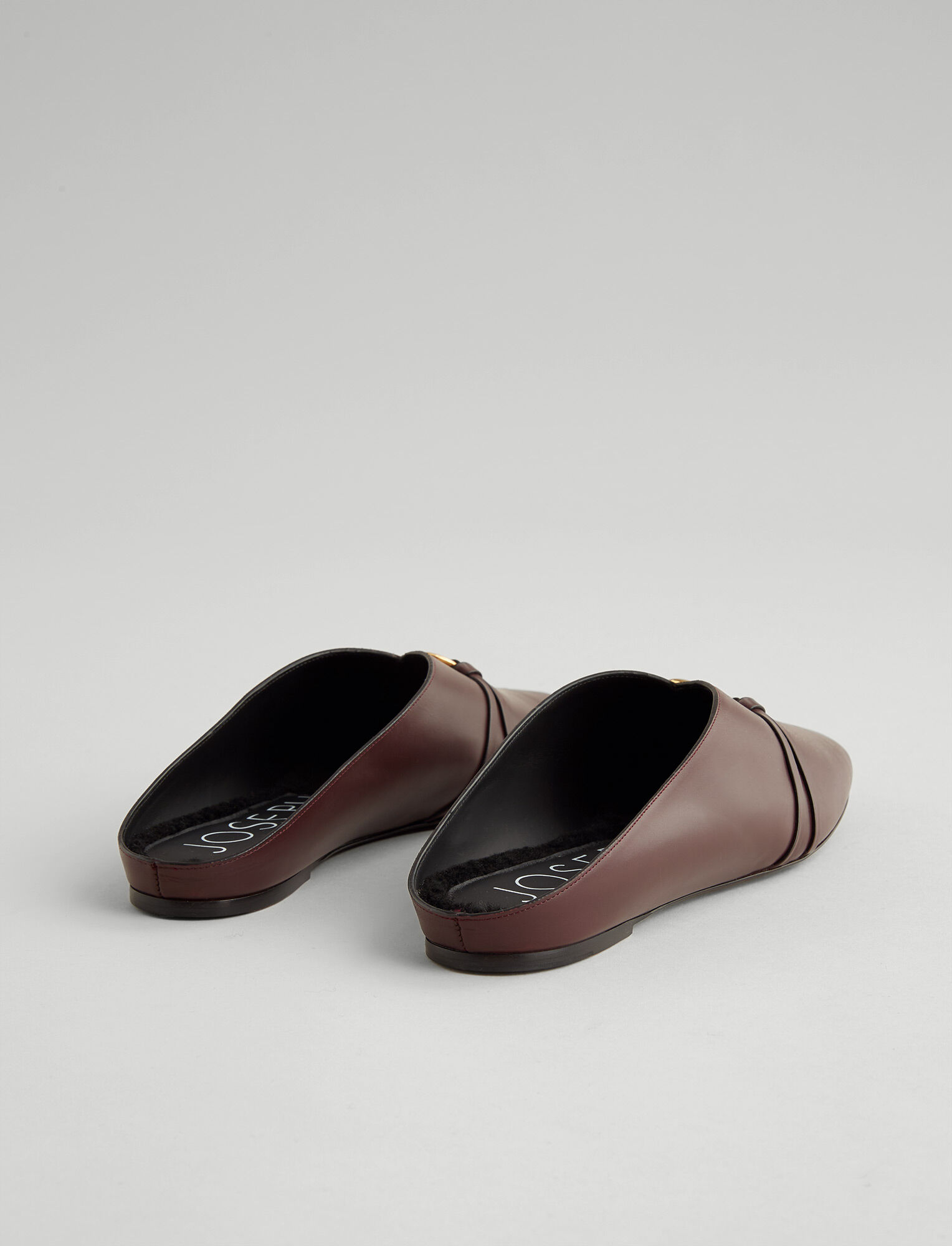 Joseph, Elsa Leather Mule, in RAISIN