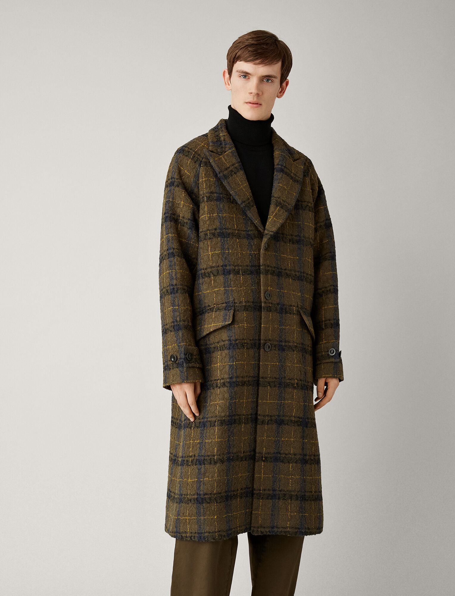 Joseph, Albert Textured Macro Check Coat, in MILITARY