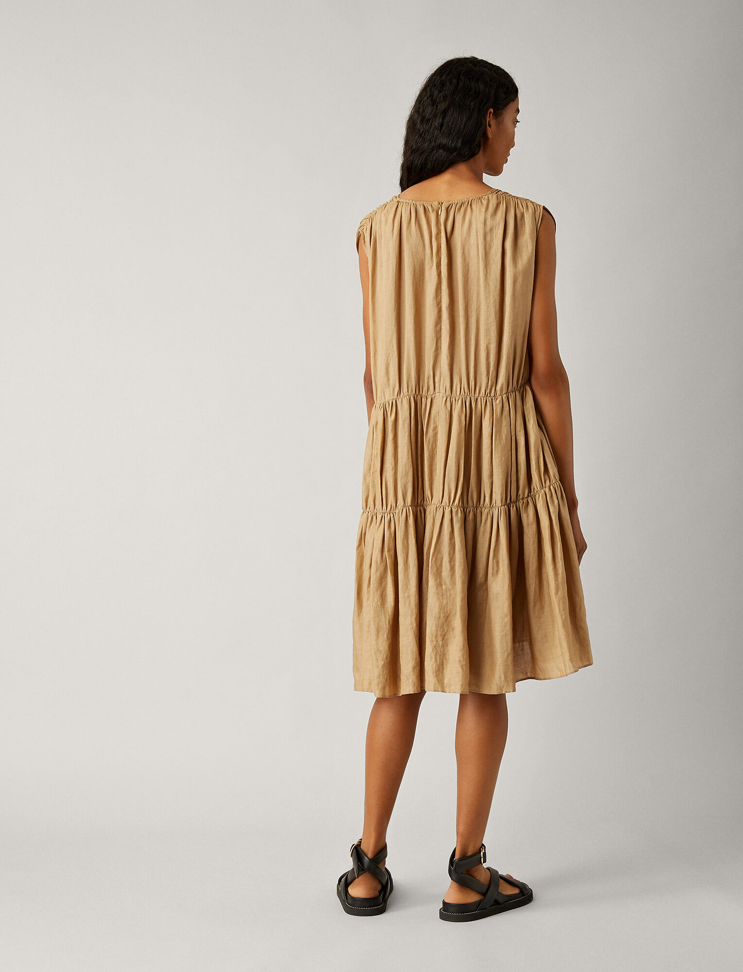 Joseph, Lema Ramie Voile Plisse Dress, in TAN