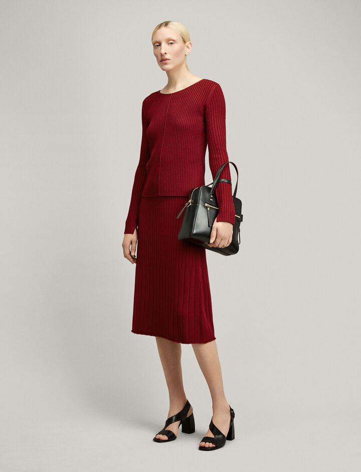 Joseph, Open Neck Wool Viscose Rib Knit, in CLARET