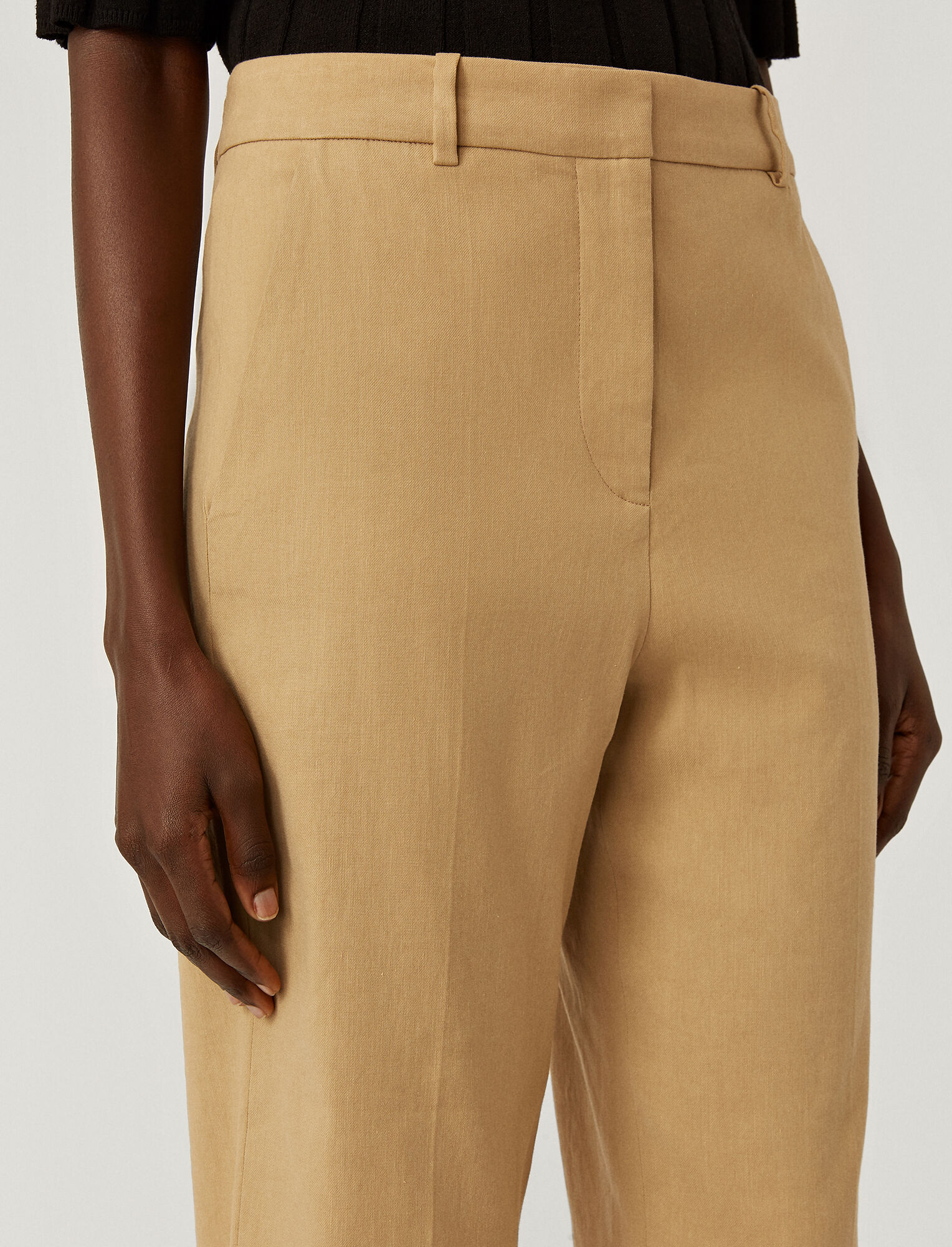 Joseph, Stretch Linen Cotton Trina Trousers, in TOFFEE