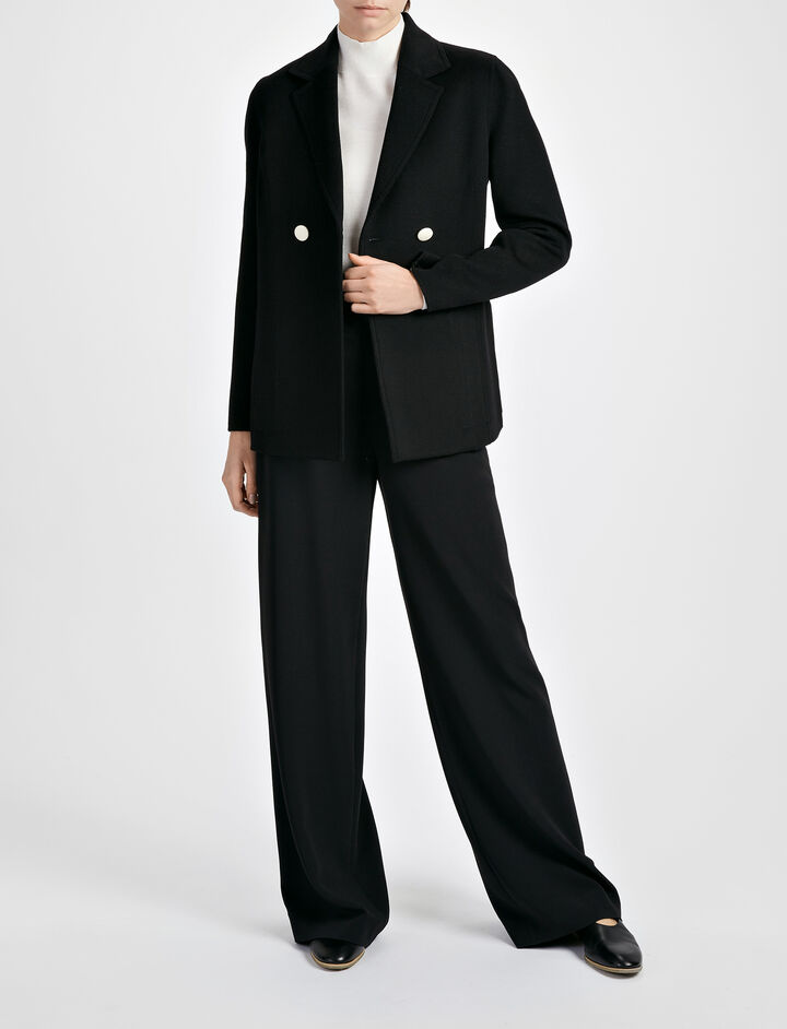 Joseph, Light Double Cashmere Brest Jacket, in BLACK