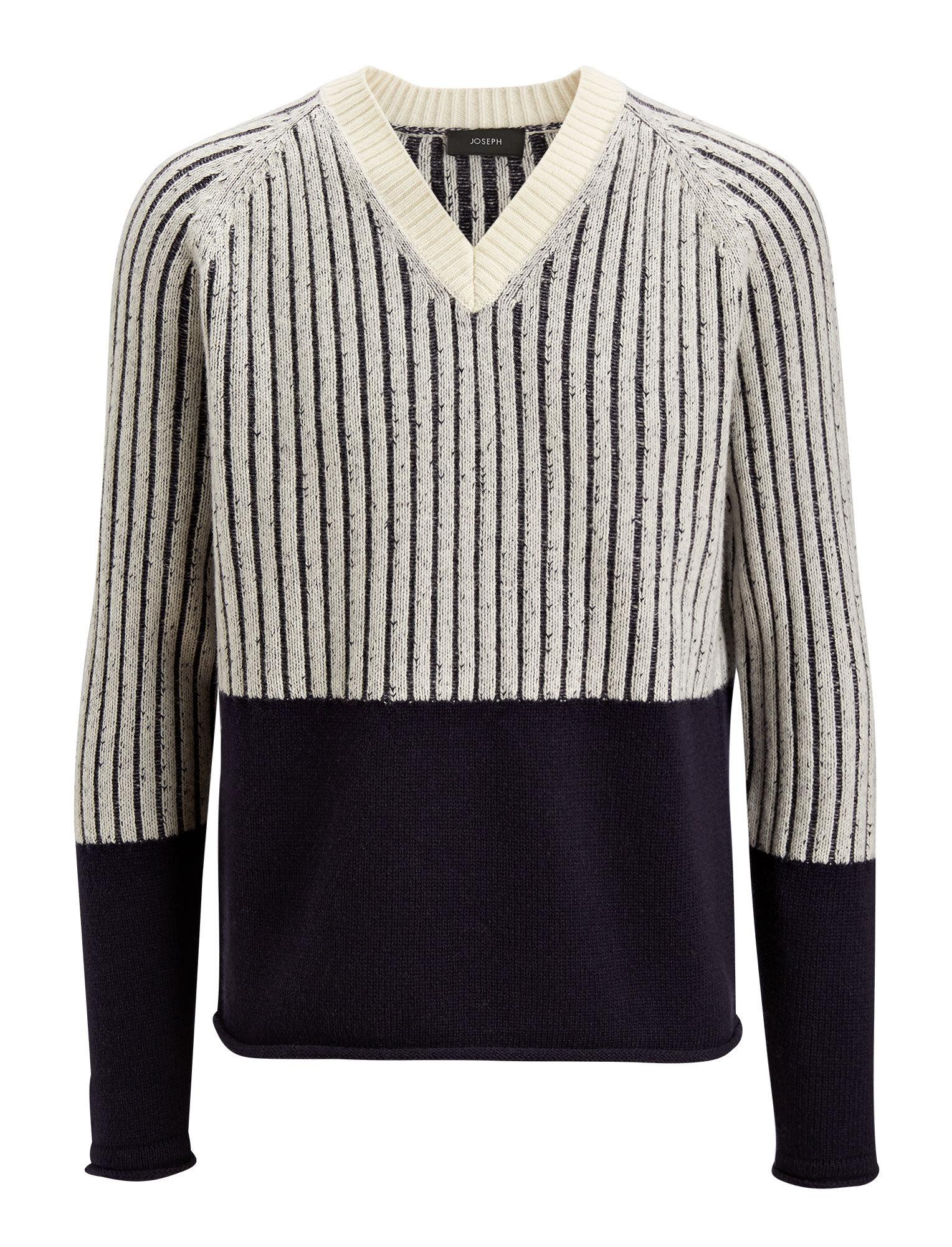 Joseph, V Neck Soft Wool Block Knit, in ECRU/NAVY