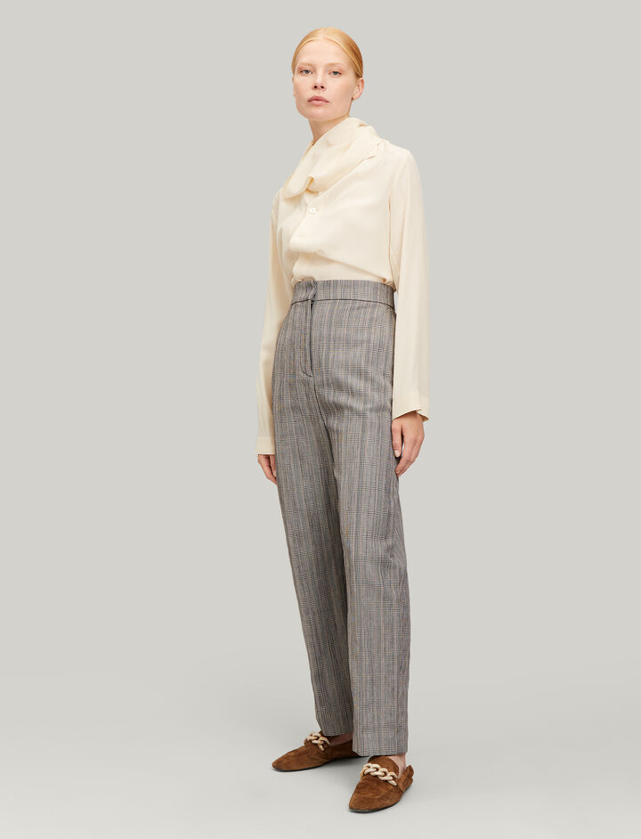 Joseph, Haim Houndstooth Check Trousers, in BEIGE